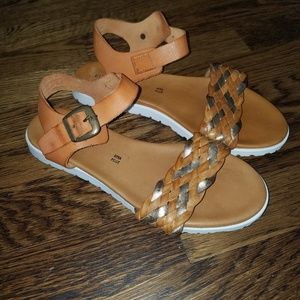 SUNDANCE Woven Leather Sandals White Sole Italy